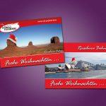 Weihnachtspostkarten für das Reisebüro Bohn