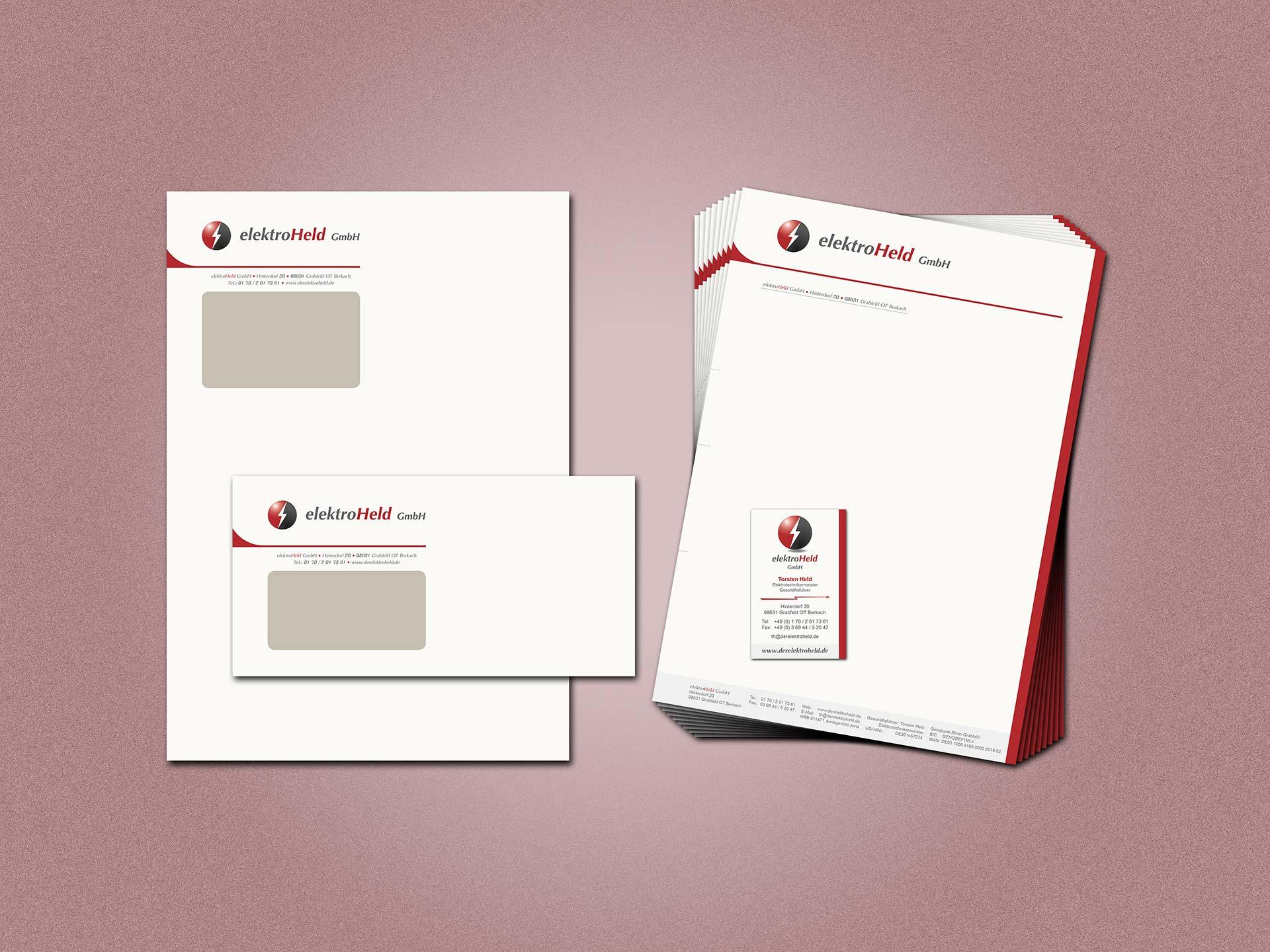 Geschäftsausstattung Elektro Held GmbH: Briefbogen, Biefumschlag, Versandtasche, Visitenkarte