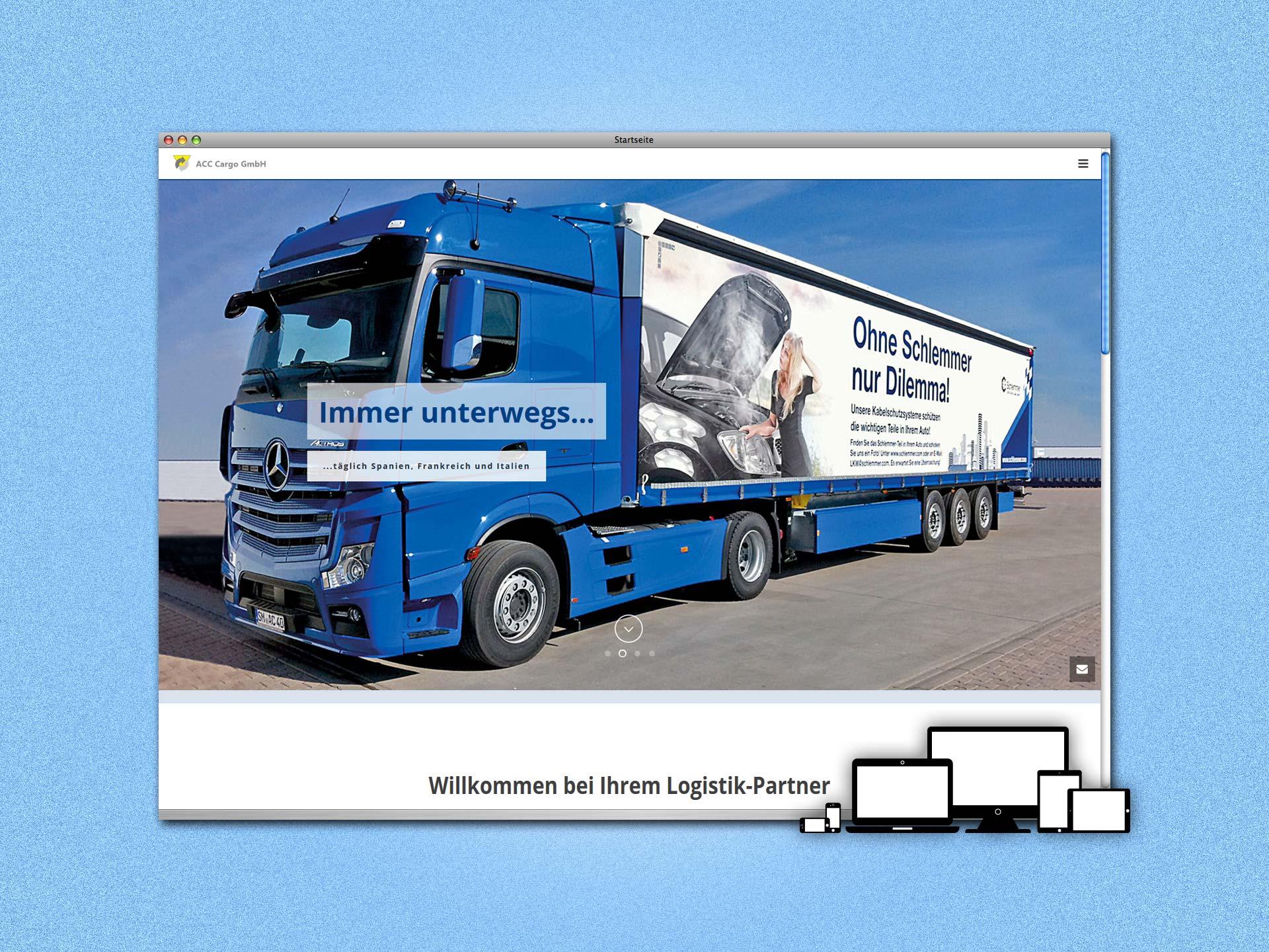 Screenshot Website im One-Page-Design für die ACC Cargo GmbH