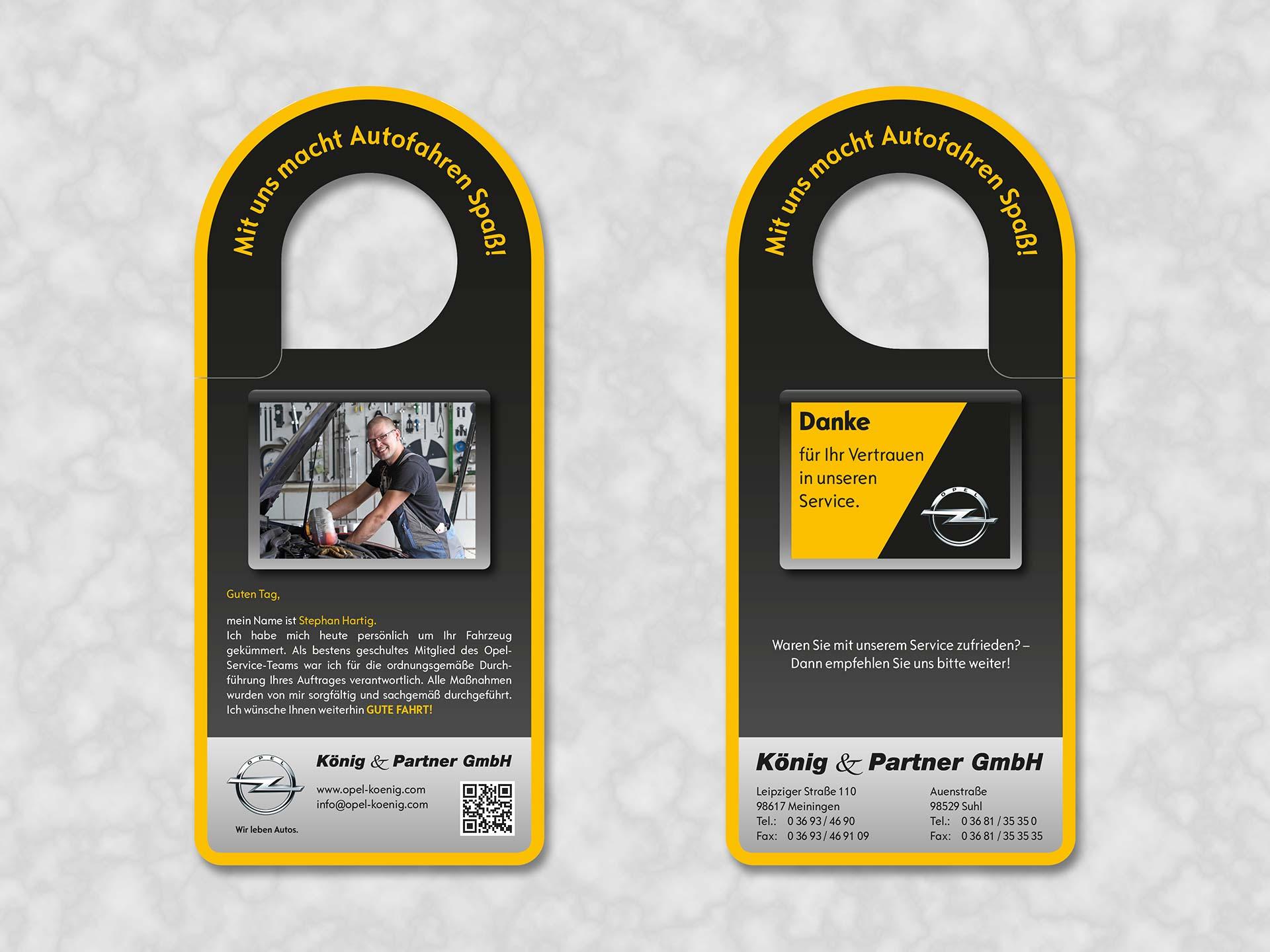 Spiegelanhänger mit Informationen zum Mechatroniker und einem Dankeschön an den Kunden