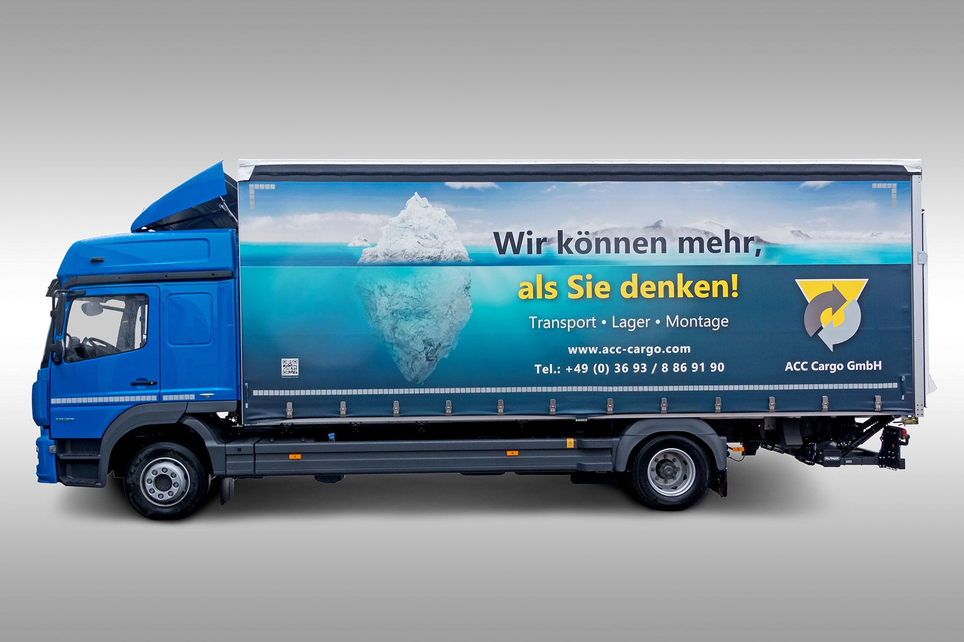 Vollflächig bedruckte Lkw-Plane - Fahrerseite