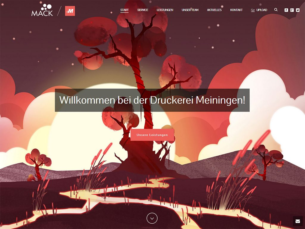 Druckerei Meiningen - Screenshot der neuen Website druckerei-meiningen.com