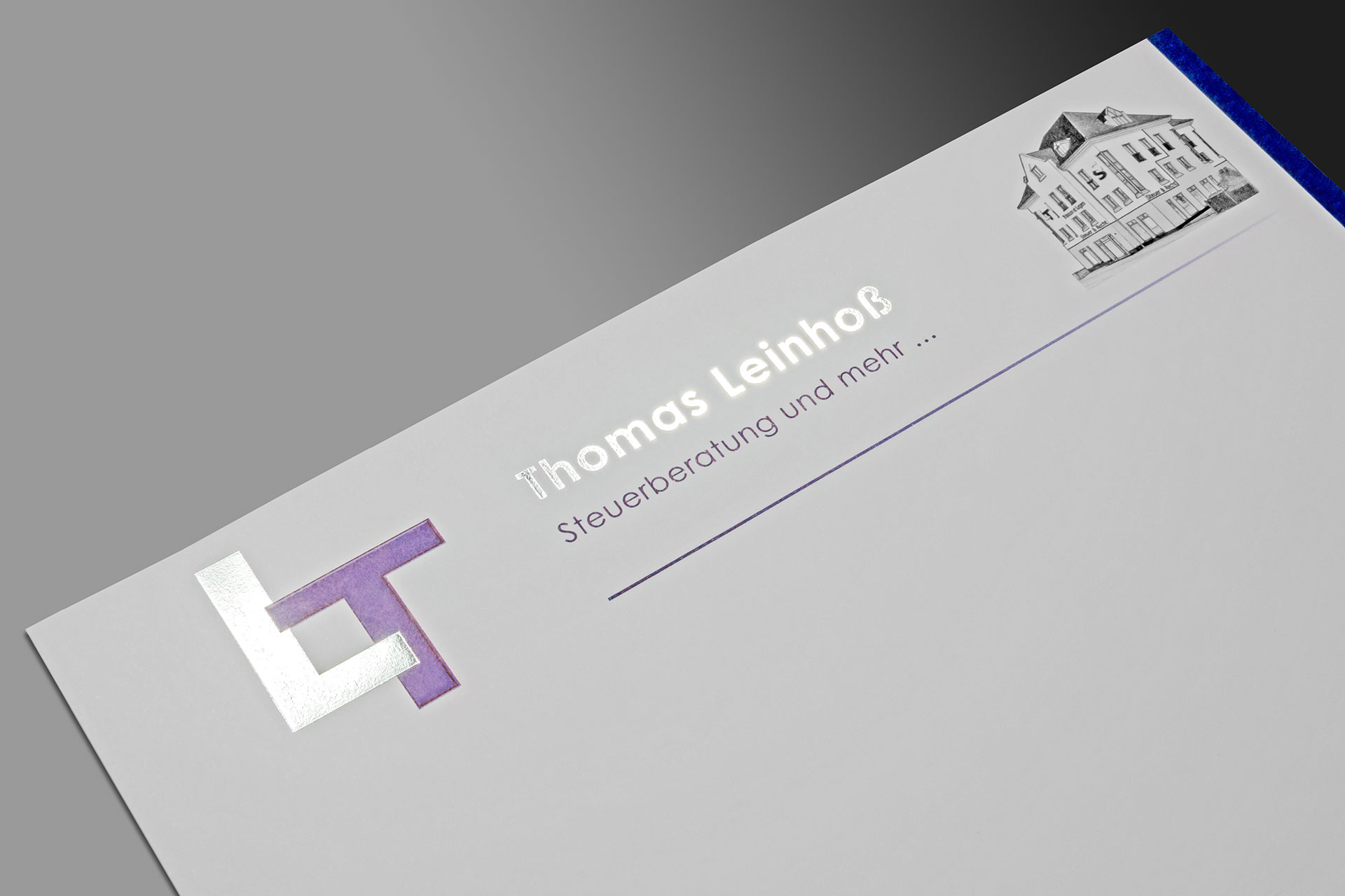 Folienprägung auf dem Briefpapier der Steuerkanzlei Thomas Leinhoß