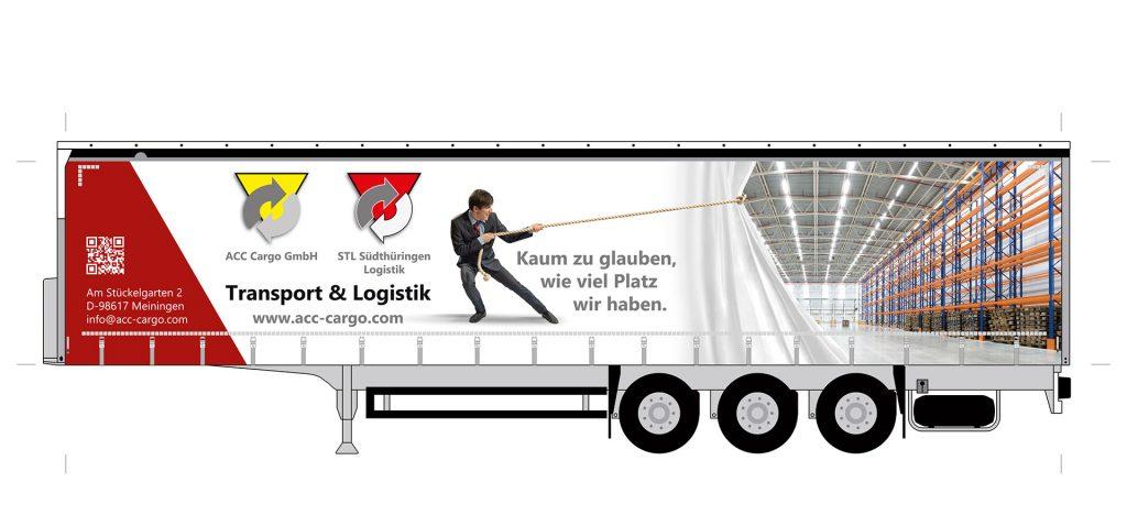 Entwurf / Druckvorlage Lkw-Trailer, linke Seite, Fahrerseite