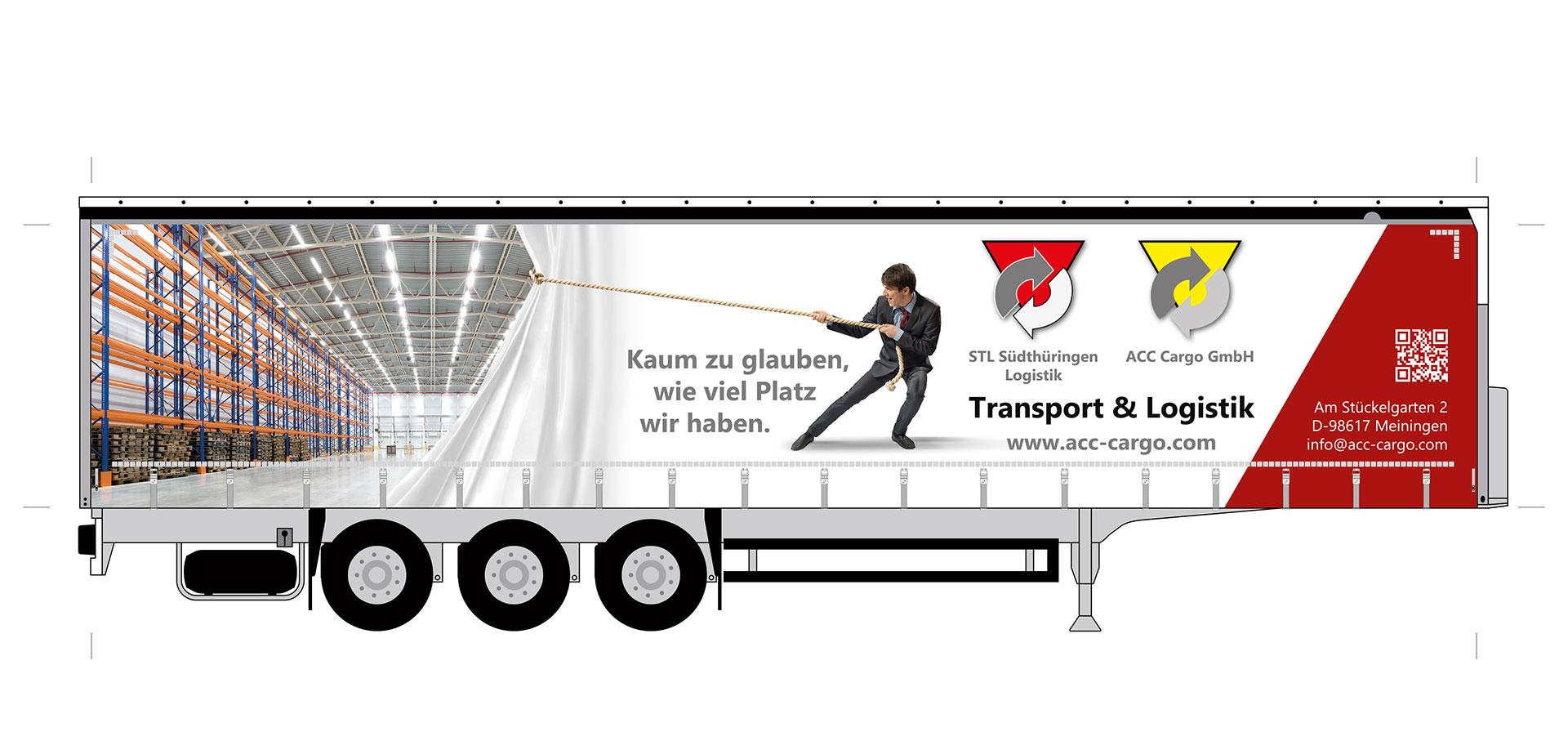 Entwurf / Druckvorlage Lkw-Trailer, rechte Seite, Beifahrerseite