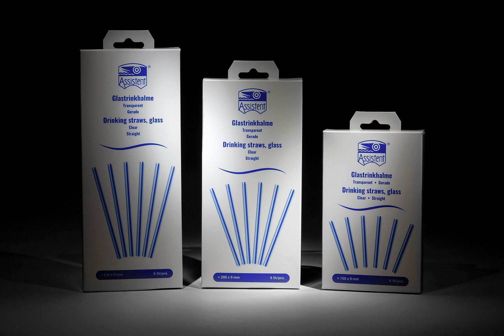Verpackungen für Glastrinkhalme in 3 verschiedenen Größen