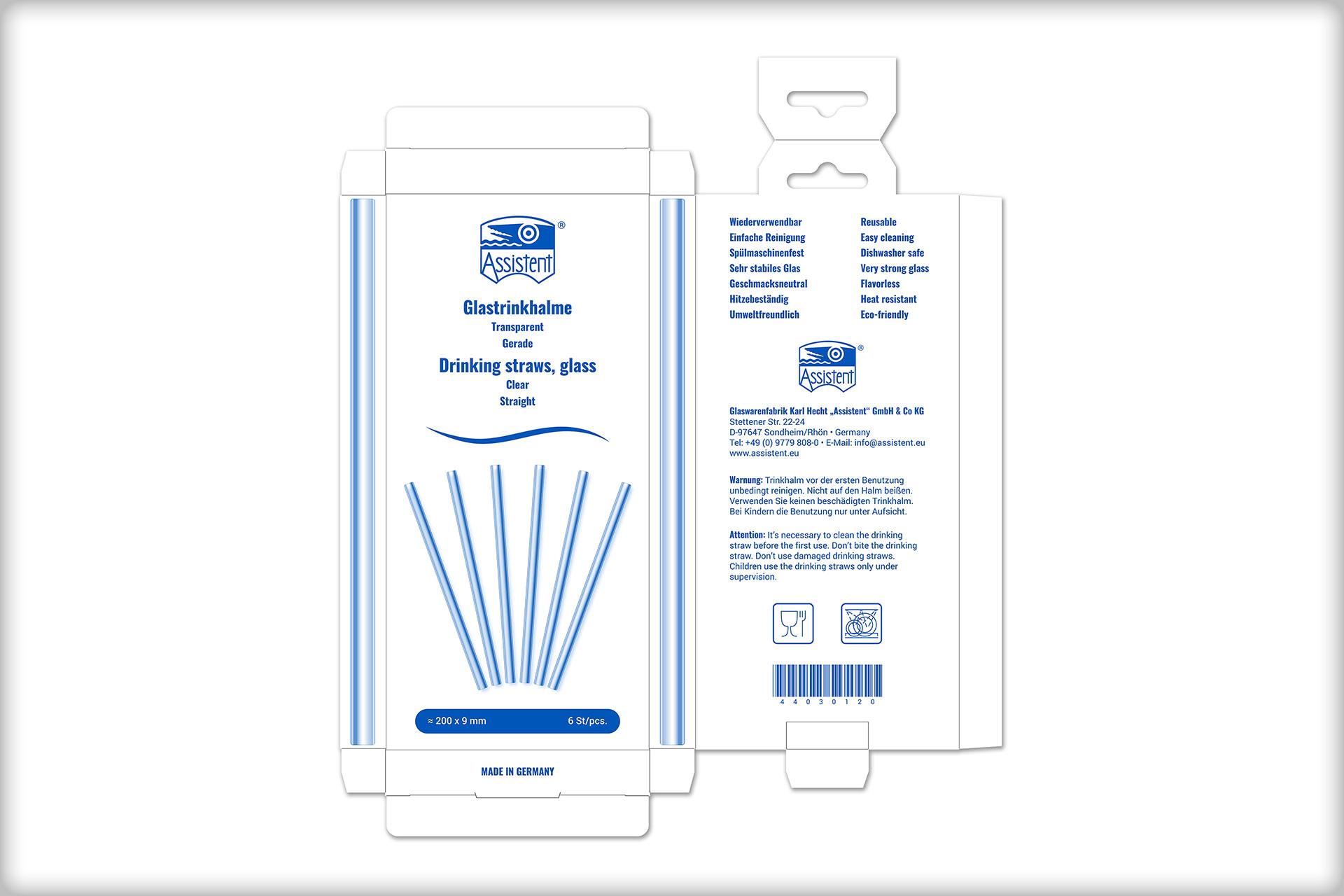 Druckvorlage für eine Verpackung Glastrinkhalme