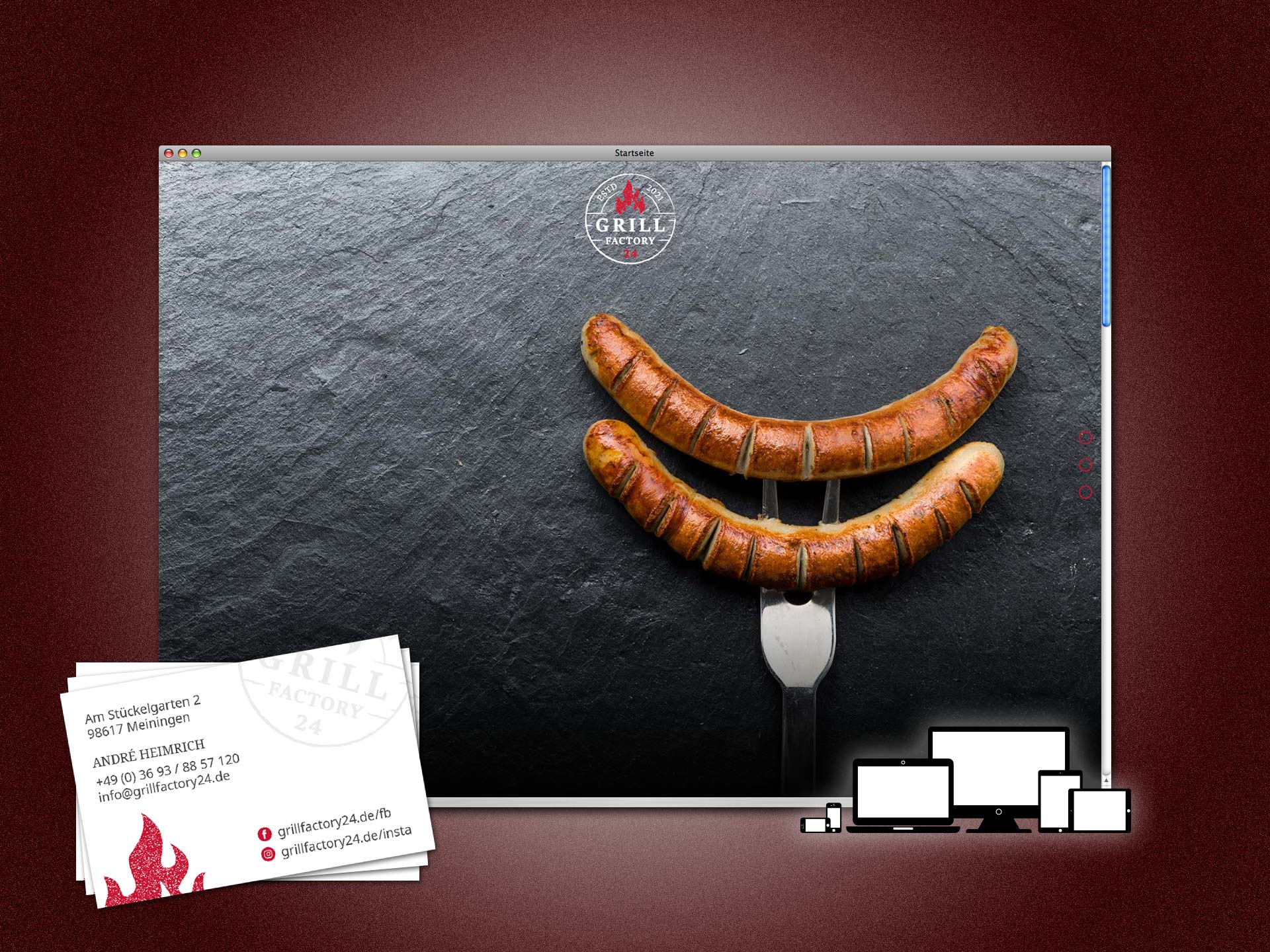 grillfactory24.de - Website und Visitenkarten